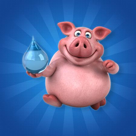 waterdrops: Fun pig - 3D Illustration
