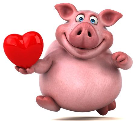 bacon love: Fun pig - 3D Illustration