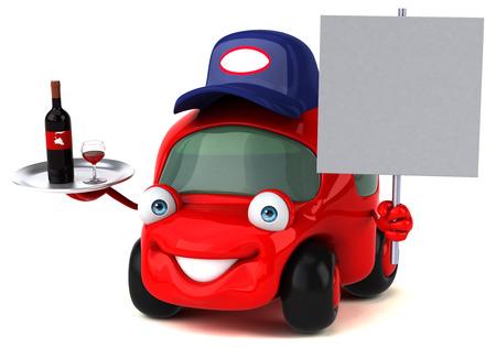 wine road: Fun car - 3D Illustration