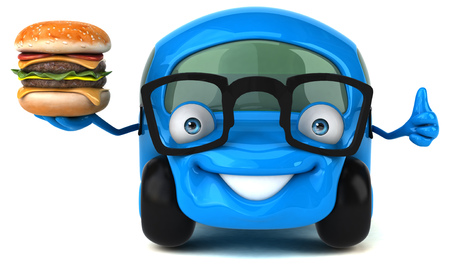 Cartoon car with glasses holding hamburger showing thumbs up
