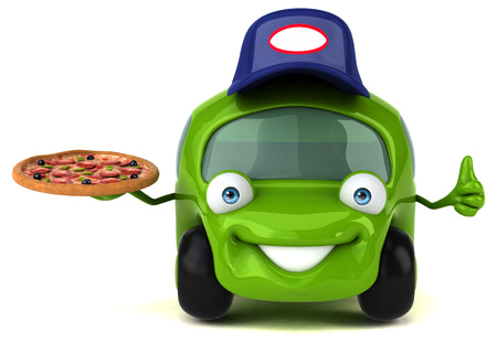 digitally generated image: Cartoon car wearing a cap with a pizza showing thumbs up
