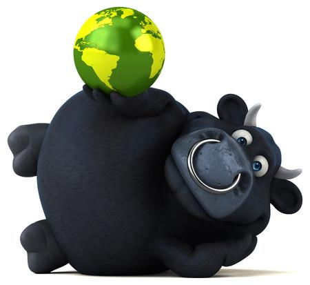 world agricultural: Black bull - 3D Illustration Stock Photo