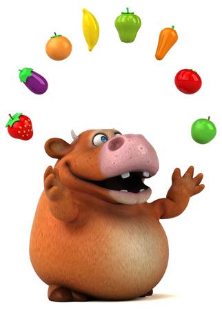 frutas divertidas: Fun cow - 3D Illustration