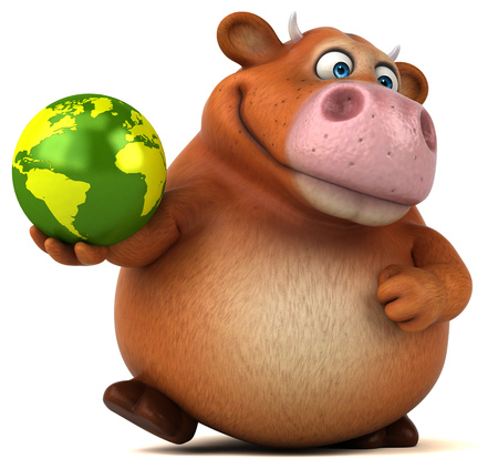 world agricultural: Fun cow - 3D Illustration