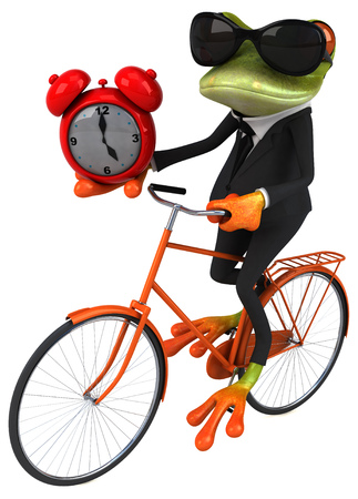 Cartoon frog riding bicycle while holding an alarm clock