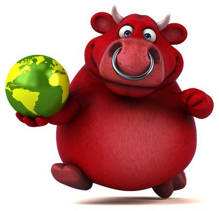 world agricultural: Red bull - 3D Illustration