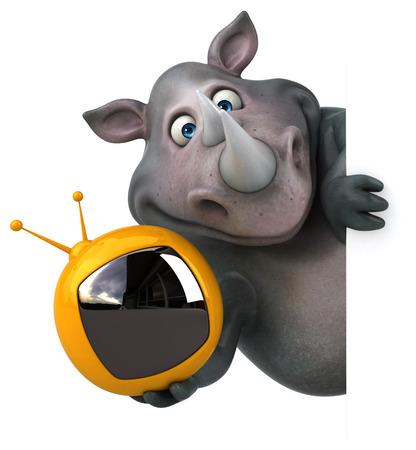 big screen: Fun rhinoceros - 3D Illustration