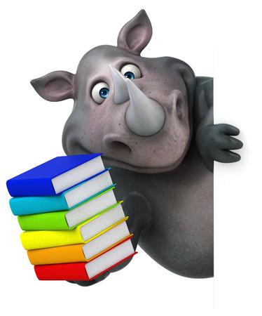 african teacher: Fun rhinoceros - 3D Illustration