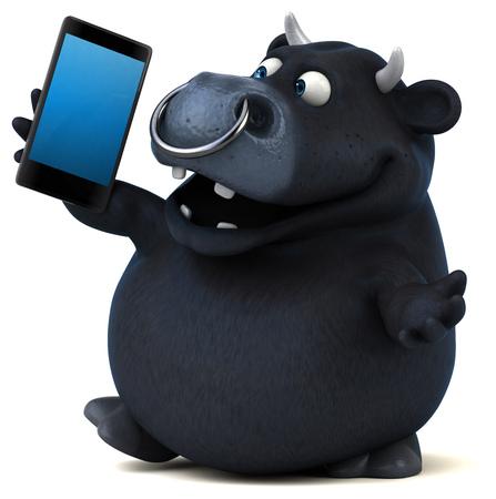 Black bull - 3D Illustration Stock Photo