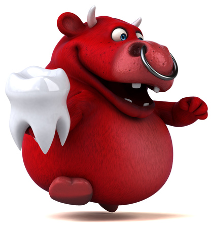 Cartoon red cow with tooth