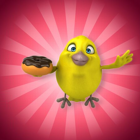 Cartoon bird holding a donut