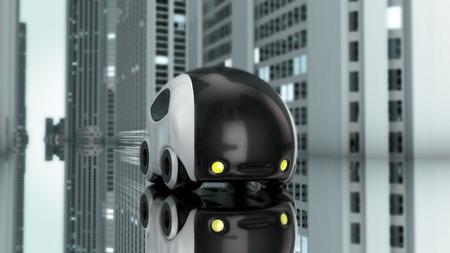 zero emission: Futuristic car design - 3D Illustration Stock Photo