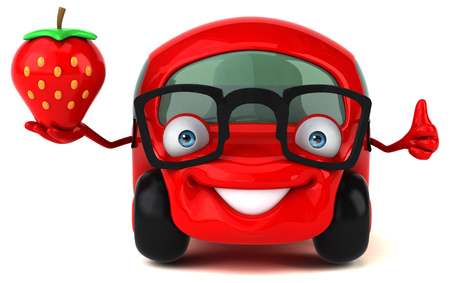 Cartoon car with glasses holding strawberry showing thumbs up Stock Photo