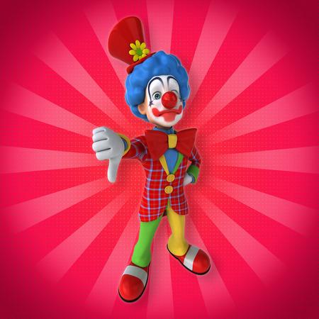 Cartoon clown showing thumbs down Stock Photo