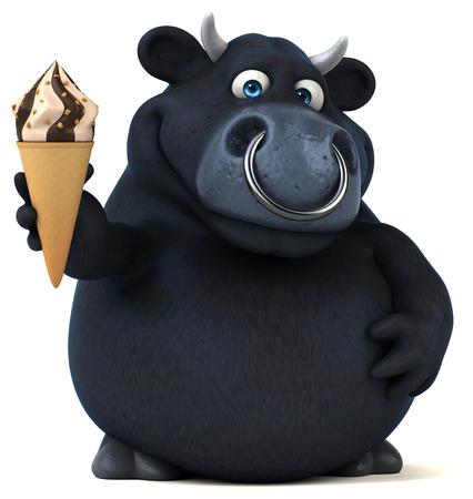 Black bull - 3D Illustration Stok Fotoğraf - 74145306