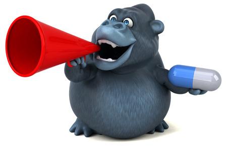 Fun Gorilla - 3D-Illustration Standard-Bild - 74146133