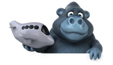 Fun Gorilla - 3D-Illustration Standard-Bild - 74146201