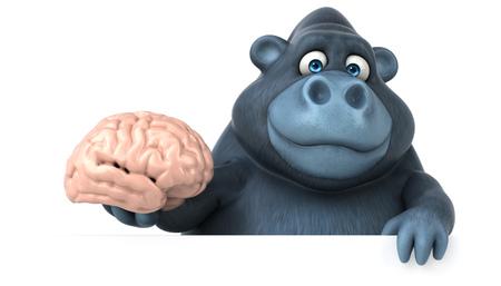 Fun Gorilla - 3D-Illustration Standard-Bild - 74146276