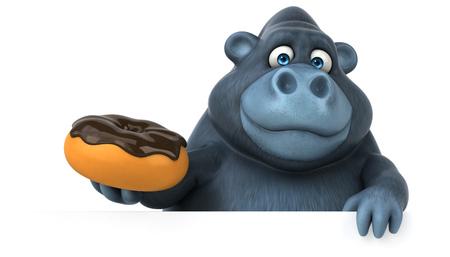 Fun Gorilla - 3D-Illustration Standard-Bild - 74150124