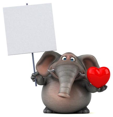 heavy heart: Fun elephant - 3D Illustration Stock Photo