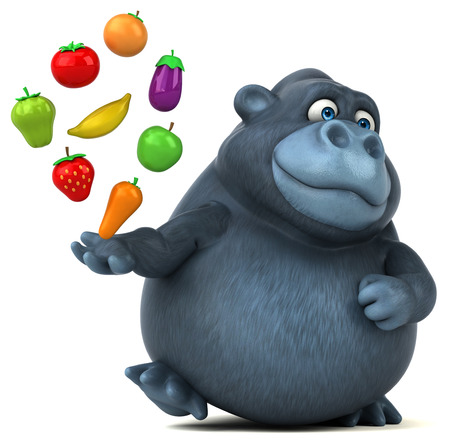 cartoon tomato: Fun gorilla - 3D Illustration Stock Photo