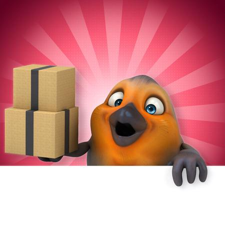 Cartoon bird with boxes