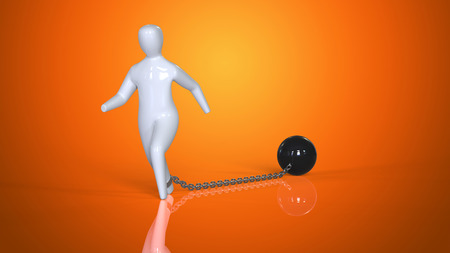 ball and chain: Chain and ball - 3D Illustration