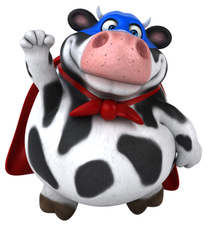 Super cow - 3D Illustration Stock Photo