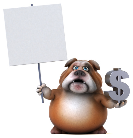british money: Fun bulldog - 3D Illustration