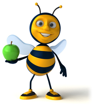 golden apple: Fun bee Stock Photo