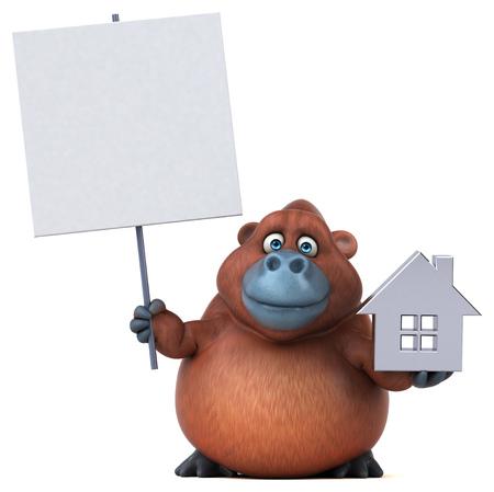 Fun orangoutan - 3D Illustration Stock Illustration - 77330846