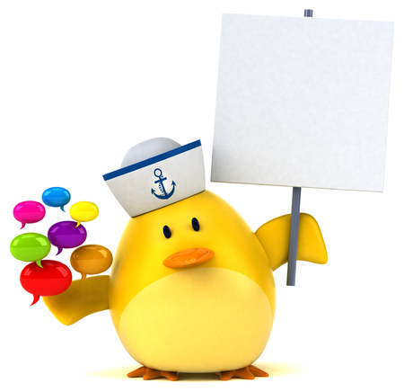 Yellow bird - 3D Illustration Stock Photo