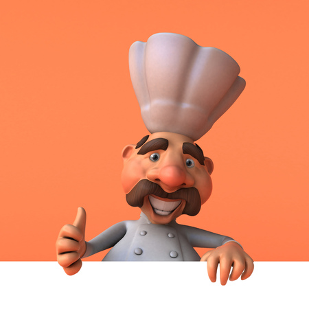 Cartoon chef - 3D Illustration Stok Fotoğraf