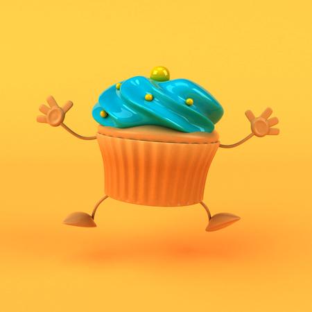 glaze: Cartoon cupcake - 3D Illustration