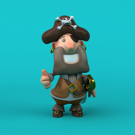 Cartoon pirate - 3D Illustration