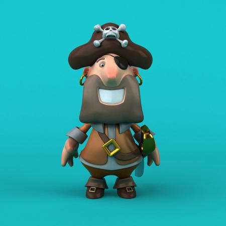 Cartoon pirate - 3D Illustration