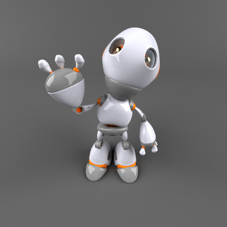 dog: Cartoon robot - 3D Illustration Stock Photo