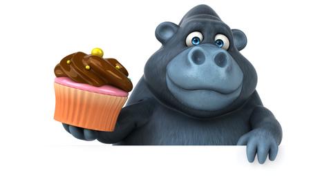 Fun Gorilla - 3D-Illustration Standard-Bild - 80764003