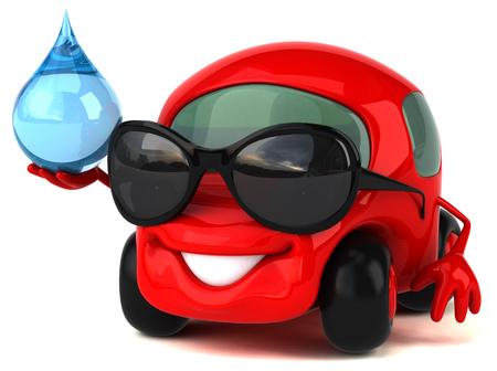 waterdrops: Fun car - 3D Illustration
