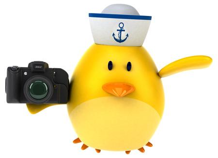 Yellow bird - 3D Illustration Фото со стока