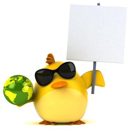 Gele vogel - 3D Illustratie