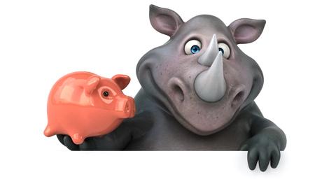 재미있는 코뿔소 - 3D 일러스트 레이션