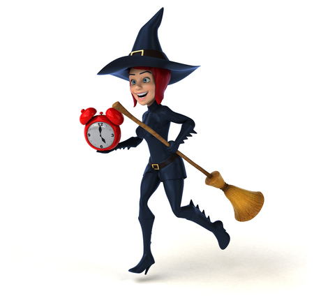 lady clock: Sexy witch - 3D Illustration Stock Photo