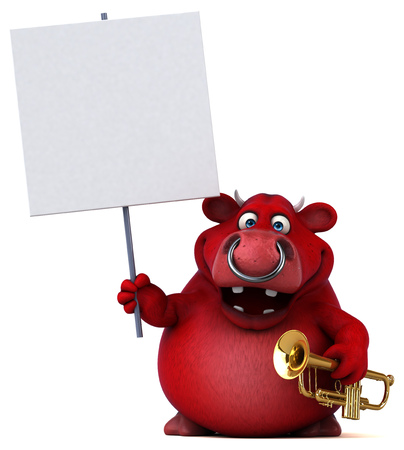 Fun red bull - 3D Illustration Фото со стока