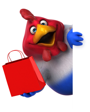 flag: Fun chicken - 3D Illustration