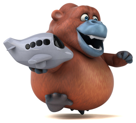 Fun orangutan - 3D Illustration Stock Photo