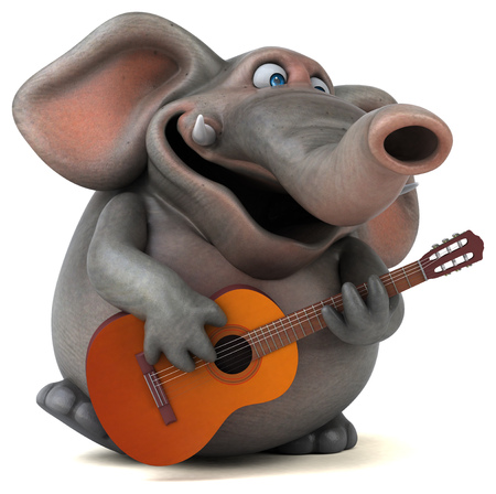 music 3d: Fun elephant - 3D Illustration Stock Photo