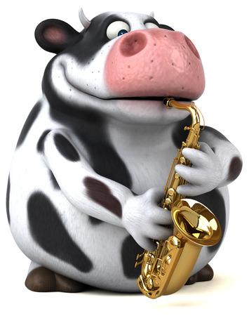 楽しい牛 - 3 D イラストレーション