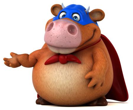 Super cow - 3D Illustration Stock Photo