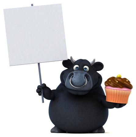 beast ranch: Black bull - 3D Illustration Stock Photo